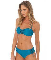 Laced blue bandeau bikini with eyelets - EYELET TOURMALINE