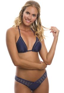 Brasiliansk bikini, blå macramé, nedringet - FLIRTY
