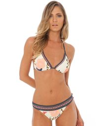 Floral triangle bikini with crochet effect parts - FLIRTY HONEY
