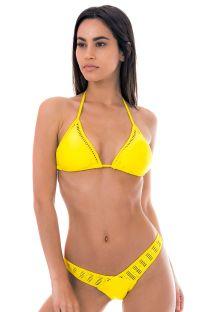 Lavtsiddende limegul bikini med macrame-pynt - FLIRTY PINEAPPLE