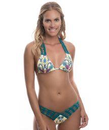Patterned high-cut bikini with green macramé detail - FUN BLOSSOM