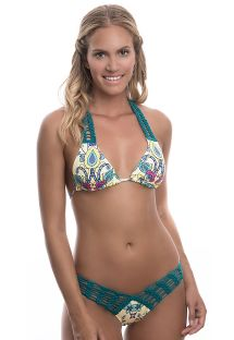 Patterned high-cut bikini with green macramé detail - FUN BLOSSOM