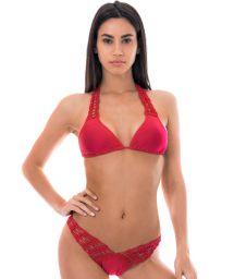 Red high-cut bi-fabric bikini withmacramé - FUN RED
