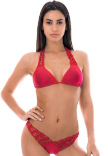 Red high-cut bi-fabric bikini with macramé - FUN RED