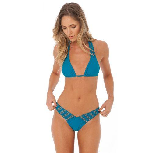 Blue Triangle Halter Bikini With Crochet Details Fun Tourmaline