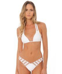 Vit trekants- halter bikini med virkade detaljer - FUN WHITE