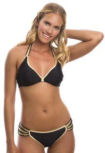 Бразильское бикини черного цвета с золотистой отделкой и несколькими полосками по бокам - GOLDIE