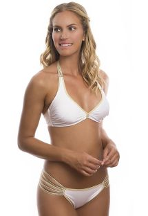 White/gold multi-strap bra top bikini - GOLDIE WHITE
