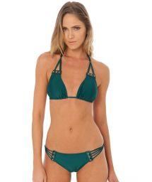 Bikini triangle vert foncé et cuir végétal orné - HOTTIE AMAZON