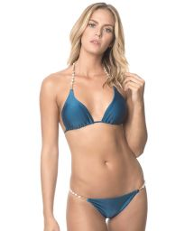 Deep blue triangle swimsuit with beads - INDIGO NEW SHELLY