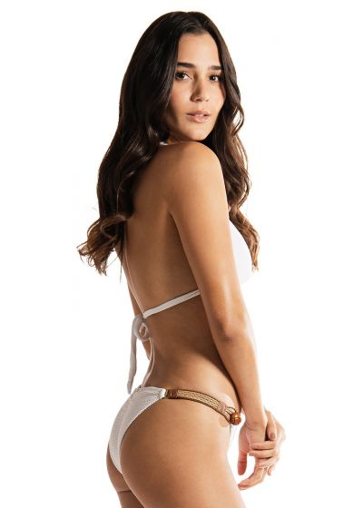 White triangle halter bikini with leather details and buttons - LA BAMBA WHITE