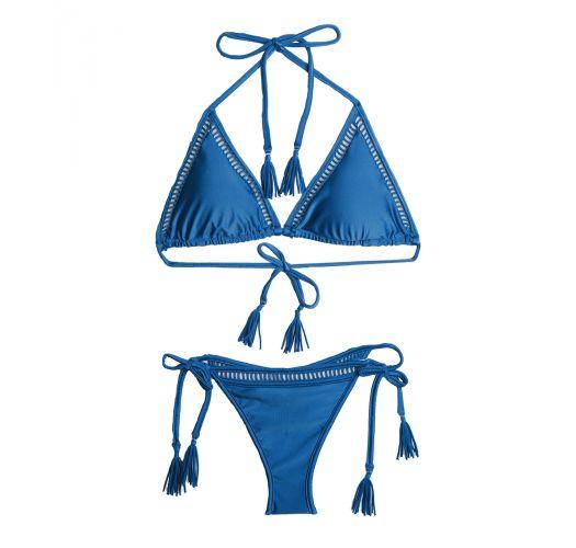 Bikini blu triangolo,uncinetto,frange,ponpon - LACE UP