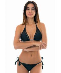 Black Brazilian bikini with openwork and fringed pompoms - LACE UP BLACK