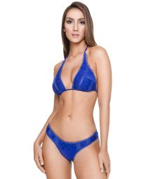 Bikini triangle foulard bleu roi avec broderies - LAISE LONG TRI BK BLUE