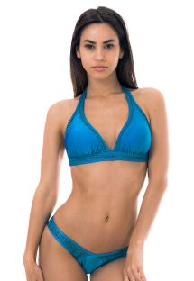 Blue high-cut bikini with openwork side straps - LUSH