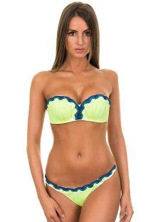 Yellow shell shape bandeau bikini, blue macramé sides - MACRAME LIME