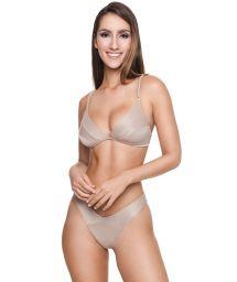 Bikini brésilien beige texturé hanches échancrées - MARIAH BK LATTE