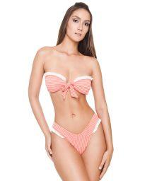 Luxury textured coral and white bandeau bikini - MEG BK RIBBED CORAL