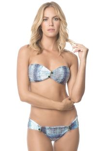 Accessorised shaded blue bandeau bikini - MIKONOS SPARKLING