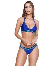 Bikini triangle foulard luxe bleu roi à galons - NEW ARTEMIS BK BLUE