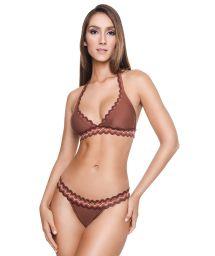 Luxurious brown triangle halter bikini with zigzag stripes - NEW ARTEMIS BK BROWNIE