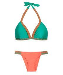 Orange/green two tone triangle bikini, macramé - POLYNESIA CROCHET STRAP