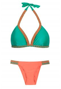 Bicolor oranje/groen driehoekige bikini, macramé details - POLYNESIA CROCHET STRAP