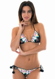 Scrunch bikini with pompoms and naive print - POOL FROU FROU