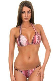 Bikini rose imprimé animal, triangle foulard et strass - RADIANCE