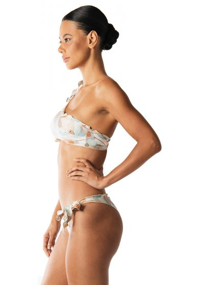 Luxurious asymmetric printed bandeau bikini - REBEL REBEL AQUARELA DO BRASIL