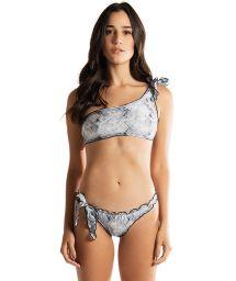 Bikini bandeau asymétrique luxe imprimé serpent - REBEL REBEL BLUE PYTHON
