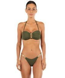 Bikini bandeau vert texturé détails cuir clouté - ROCK AND ROLL ROSEMARY