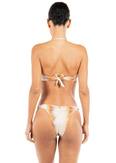 Luxurious gold tie dye bandeau bikini with leather details and studs - ROCK AND ROLL SUNSHINE