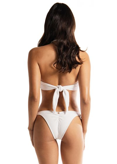 Luxurious white bandeau bikini with studded leather detail - ROCK AND ROLL WHITE