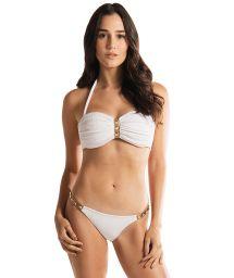 Weißer Luxus-Bandeau-Bikini, beschlagenes Leder-Detail - ROCK AND ROLL WHITE