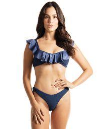 Marineblauer Bustier-Bikini mit Volants und Wende-Bikinihose - RUSH RUSH AEGEAN