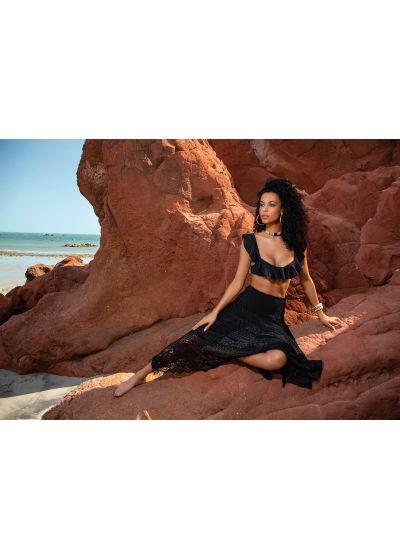 Black two-material bralette bikini with ruffles - RUSH RUSH BLACK