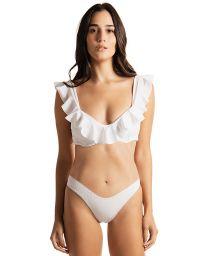 Weißer texturierter Luxus-Bustier-Bikini mit Volants - RUSH RUSH WHITE