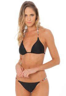 Black triangle bikini with pearls and stones - SEAMAID BLACK