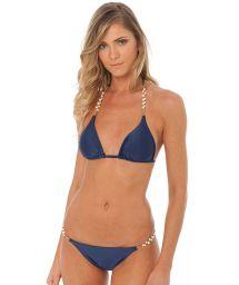 Bikini brésilien marine et perles de culture - SHELLEY NAVY
