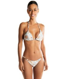 Bikini triangle imprimé réversible texturé à perles - SHELLY DOUBLE AQUARELA DO BRASIL