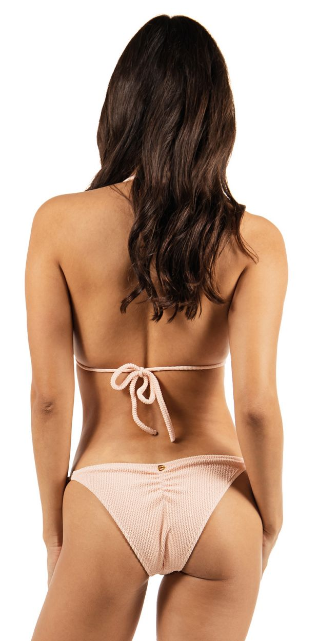 Reversible pink floral triangle bikini with pearls - SHELLY DOUBLE ROSE GARDEN