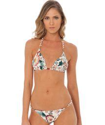 Vintage blommig trekants- bikini med odlade pärlor - SHELLY ORIENTAL