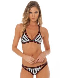 Triangle halter striped bikini with shiny red inserts - SO PRETTY NO PARALLEL