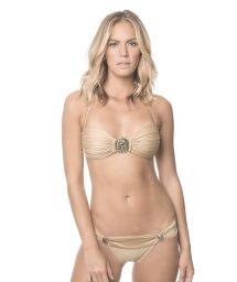 Gold bandeau swimsuit with jewels - SUNTAN ABALONE