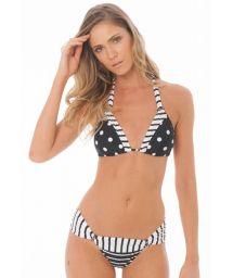 Svart & vit bikini med ränder och prickar - VENUS BLACK GEOMETRIC