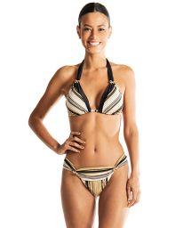 Black & gold lurex striped halter triangle bikini - VENUS LUREX