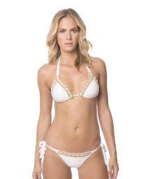 White halter bikini top with macramé (cross-stitching) - WHITE ALGARVE