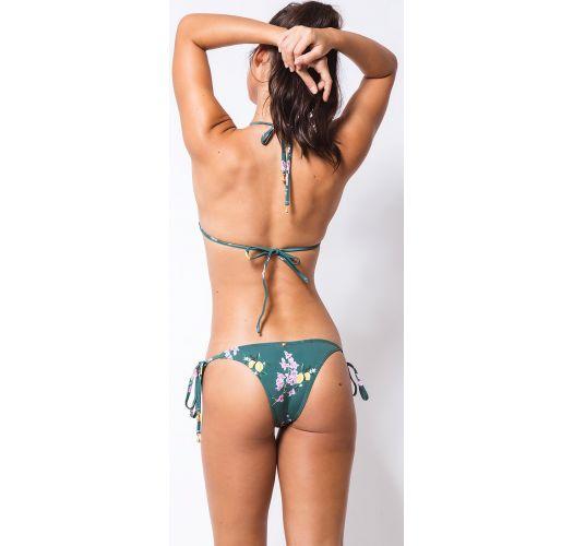 ביקיני ברזילאי ירוק, תחתונים עם קשירה בצדדים, הדפס לימונים - CORTININHA GIARDINO