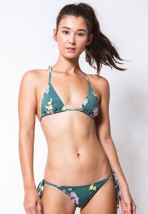 Brasilian Bikini, grün, Motive: Blumen/Zitronen - CORTININHA GIARDINO